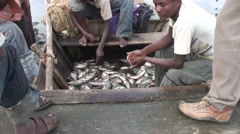 Fishermen sitting in boat with catch at Lake Awassa Stock Footage