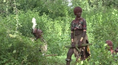 Hamer people man and woman at whipping cermony in Omo Valley in Ethiopia Stock Footage