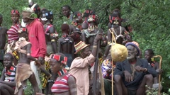 Hamer people tribe in Omo Valley at whipping passing ceremony Stock Footage