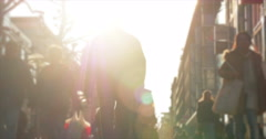 Busy Stuttgart Pedestrian Mall with Warm Sunlight and blurred view - stock footage