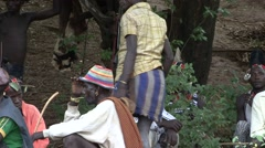 Hamer people women in Omo Valley at whipping passage ceremony - stock footage