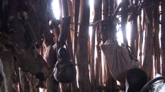Inside of traditional Hamer village in Ethiopia Stock Footage