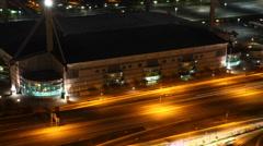 4K UltraHD Aerial timelapse view of San Antonio traffic near Alamodome at night Stock Footage