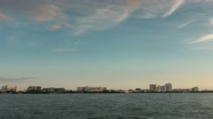 Cancun skyline timelapse bay view pan Stock Footage