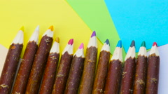 Thick colored pencils. For captions Stock Footage