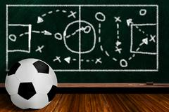 Game Concept With Soccer Ball and Chalk Board Play Strategy - stock photo