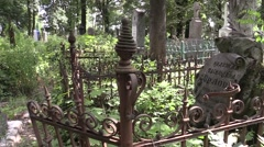 the old Russian cemetery of broken fence - stock footage