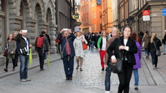 Time Lapse Zoom of Crowds walking down Alley in Stockholm Sweden Stock Footage