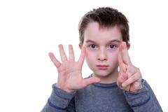 Child with seven fingers up Stock Photos