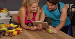 Cpouple with healthy life using tablet - stock footage