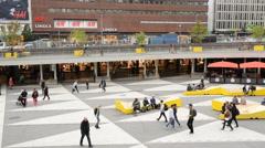 Sergel's Square Central Stockholm Sweden Stock Footage