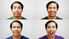 4 Portrait Asian Face Doing Many Expression Stop Motion 4K Resolution Stock Footage