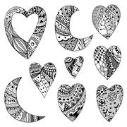 hearts and crescent - stock illustration