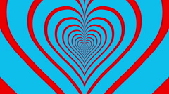 Oncoming concentric nested red hearts on a blue background. - stock footage