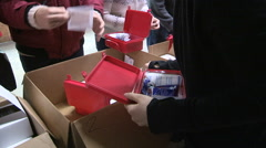 Workers prepare medical supplies and aid for Ukraine war victims - stock footage