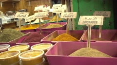 Stall  With Spices On Display Stock Footage