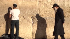 Young and old at the Kotel Stock Footage