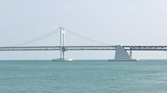 Gwangan Big bridge and Marine City Stock Footage