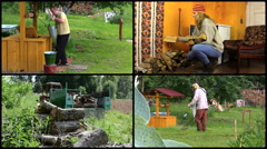 Active peasant people work in village. Footage clips collage. Stock Footage