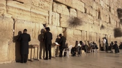 Jews Pray infront of The Western Wall Stock Footage
