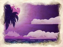 Grunge tropical island at night - stock illustration