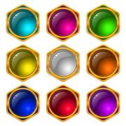 Stock Illustration of Buttons with gems, set, round