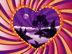 Grunge tropical island in a heart Piirros