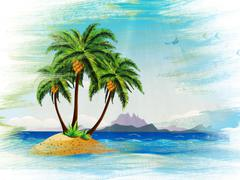 Stock Illustration of Grunge tropical island in the ocean