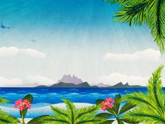 Grunge tropical island in the ocean - stock illustration