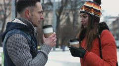 Handsome couple of thier first date. Young male and woman talking and drinking Stock Footage