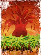 Stock Illustration of Grunge volcano island