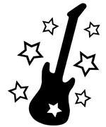 Guitar and Stars - stock illustration