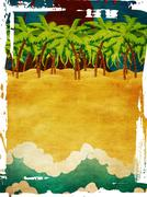 Grunge volcano island Stock Illustration