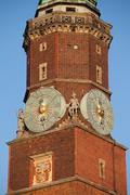 Town Hall Clock Tower in Wroclaw Stock Photos