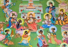 Chinese mural painting art Stock Photos