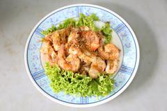 Garlic Pepper Shrimp in dish. Stock Photos