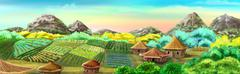 Chinese Village and Rice Fields - stock illustration
