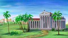 Ancient Greek Temple Stock Illustration