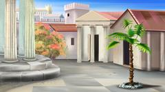 Small Courtyard of an Ancient Temple Stock Illustration