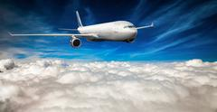 Passenger Airliner in the sky Stock Photos