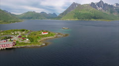 Sildpollness church on Lofoten islands, aerial view - stock footage