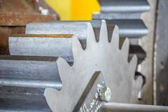 Close-up of metal gear - stock photo