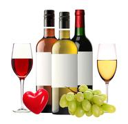 bottles of red, pink and white wine and wineglasses isolated on white - stock photo