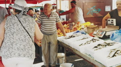 Fish and Food Market in Rethymno Crete Stock Footage