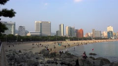 Haeundae Beach in Busan (Haeundae-gu). South Korea Stock Footage