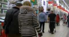 Shopping in the Auchan shopping center Stock Footage