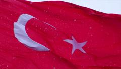 Turkish flag waving and it snows in Izmir Turkey Stock Footage