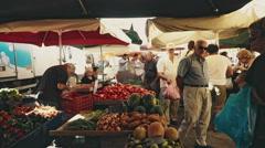 Local Food Market in Rethymno Crete - stock footage