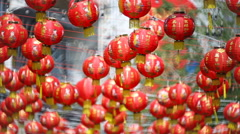 Chinese new year lanterns with blessing text mean happy ,healthy and wealth. Stock Footage