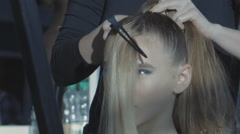 Stock Video Footage of Stylist hairdresser makes hair coloring